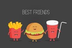 Χαριτωμένο burger γρήγορου φαγητού, σόδα, τηγανιτές πατάτες Στοκ Φωτογραφία