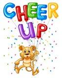 Χαριτωμένο cub λιονταριών με τα μπαλόνια και την ευθυμία λέξης επάνω ελεύθερη απεικόνιση δικαιώματος