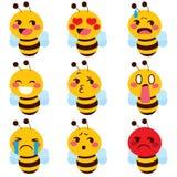 Χαριτωμένο emoji μελισσών Διανυσματική απεικόνιση