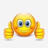 Χαριτωμένο emoticon με τους αντίχειρες επάνω, emoji - απεικόνιση Απεικόνιση αποθεμάτων