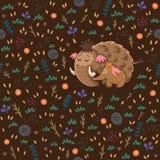 Χαριτωμένο floral άνευ ραφής σχέδιο με τα μαμούθ Στοκ Εικόνες