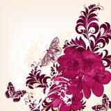Χαριτωμένο floral υπόβαθρο με συρμένα τα χέρι λουλούδια Στοκ Εικόνα