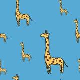 Χαριτωμένο giraffe άνευ ραφής διανυσματικό σχέδιο στο μπλε Στοκ φωτογραφία με δικαίωμα ελεύθερης χρήσης
