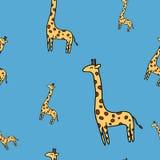 Χαριτωμένο giraffe άνευ ραφής διανυσματικό σχέδιο στο μπλε Στοκ Εικόνες