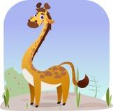 Χαριτωμένο Giraffe κινούμενων σχεδίων στο έδαφος με τη χλόη και το Μπους ελεύθερη απεικόνιση δικαιώματος