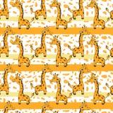 Χαριτωμένο giraffe κινούμενων σχεδίων στο πορτοκαλί υπόβαθρο σημείων, διανυσματικό άνευ ραφής σχέδιο, διακοσμητική σύσταση, ζωηρό Στοκ Εικόνες