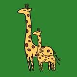 Χαριτωμένο giraffe στο πράσινο υπόβαθρο Στοκ Εικόνες