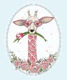 Χαριτωμένο giraffe hipster υπόβαθρο Στοκ εικόνες με δικαίωμα ελεύθερης χρήσης