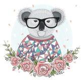 Χαριτωμένο koala hipster με τα γυαλιά Στοκ φωτογραφία με δικαίωμα ελεύθερης χρήσης