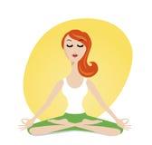 Χαριτωμένο meditating κορίτσι στο ύφος κινούμενων σχεδίων διανυσματική απεικόνιση