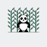 Χαριτωμένο panda με το υπόβαθρο μπαμπού Στοκ Φωτογραφίες