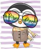 Χαριτωμένο Penguin με τα γυαλιά ήλιων διανυσματική απεικόνιση