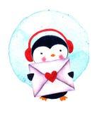 Χαριτωμένο Penguin με το φάκελο απεικόνιση watercolor που απομονώνεται Στοκ φωτογραφία με δικαίωμα ελεύθερης χρήσης
