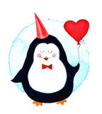 Χαριτωμένο penguin που κρατά μπαλόνια τα μεγάλα καρδιών για τα κινούμενα σχέδια ημέρας βαλεντίνων Στοκ Φωτογραφίες