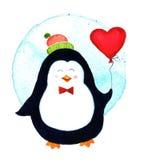 Χαριτωμένο penguin που κρατά μπαλόνια τα μεγάλα καρδιών για τα κινούμενα σχέδια ημέρας βαλεντίνων Στοκ εικόνα με δικαίωμα ελεύθερης χρήσης