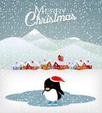 χαριτωμένο penguin Χριστουγένν&omega Στοκ Φωτογραφία