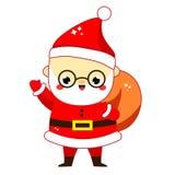 χαριτωμένο santa Claus Ο παγετός μπαμπάδων με το σύνολο τσαντών παρουσιάζει Νέος χαρακτήρας έτους και Χριστουγέννων στο ύφος kawa απεικόνιση αποθεμάτων