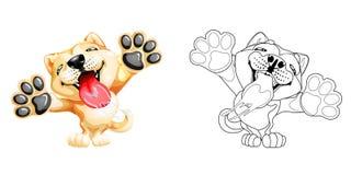 Χαριτωμένο slime χρώμα σκυλιών κουταβιών και lineart Στοκ Εικόνες
