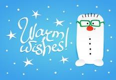 Χαριτωμένο snownam με πράσινα eyeglasses Στοκ Εικόνες