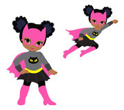 Χαριτωμένο superhero σύνολο τέχνης συνδετήρων κοριτσιών διανυσματικό Στοκ Εικόνα