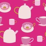 Χαριτωμένο teapots και φλυτζανών τσαγιού ρόδινο άνευ ραφής σχέδιο διανυσματική απεικόνιση