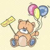 Χαριτωμένο Teddy αντέχει με τα ζωηρόχρωμα μπαλόνια Στοκ Εικόνα