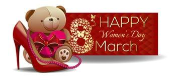 Χαριτωμένο Teddy αντέχει συγχαίρει τις όμορφες γυναίκες με την ημέρα των διεθνών γυναικών Στοκ φωτογραφία με δικαίωμα ελεύθερης χρήσης