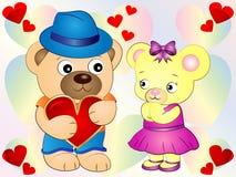 Χαριτωμένο Teddy αντέχει την ταπετσαρία αγάπης Στοκ Φωτογραφίες