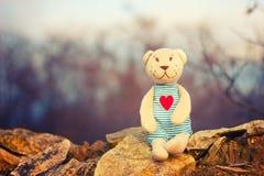 Χαριτωμένο Teddy αφορά ένα όμορφο υπόβαθρο Στοκ εικόνα με δικαίωμα ελεύθερης χρήσης