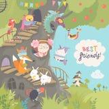 Χαριτωμένο treehouse με το μικρό κορίτσι και τα ζώα Στοκ Εικόνες