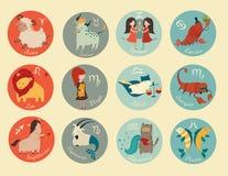 Χαριτωμένο zodiac εικονίδιο σημαδιών απεικόνιση αποθεμάτων