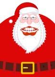 Χαρούμενα γέλια Άγιου Βασίλη Ευρύ χαμόγελο και ζώνη μεγάλο στόμα Εγώ Στοκ εικόνες με δικαίωμα ελεύθερης χρήσης