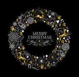 Χαρούμενα Χριστούγεννας ετικετών χαμηλός πολυ ελαφιών στεφανιών χρυσός