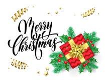 Χαρούμενα Χριστούγεννας ευχετήριων καρτών διανυσματικό ελαιόπρινου δώρων πρότυπο σχεδίου έτους κιβωτίων νέο Στοκ φωτογραφία με δικαίωμα ελεύθερης χρήσης