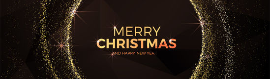 Χαρούμενα Χριστούγεννας και Χριστουγέννων καλής χρονιάς φανταχτερό χρυσό ύφος τριγώνων σφαιρών χαμηλό πολυ Στοκ εικόνα με δικαίωμα ελεύθερης χρήσης