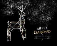 Χαρούμενα Χριστούγεννας νέο έτους deco περιλήψεων ελαφιών χρυσό διανυσματική απεικόνιση