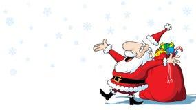Χαρούμενα Χριστούγεννα Άγιος Βασίλης με την τσάντα των παιχνιδιών στο άσπρο υπόβαθρο στοκ εικόνες