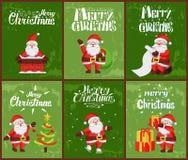 Χαρούμενα Χριστούγεννα, Άγιος Βασίλης στην καπνοδόχο τη νύχτα απεικόνιση αποθεμάτων
