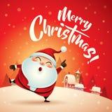 Χαρούμενα Χριστούγεννα! Άγιος Βασίλης στη σκηνή χιονιού Χριστουγέννων χαιρετισμός Χριστουγέννων καρτών Στοκ φωτογραφία με δικαίωμα ελεύθερης χρήσης