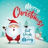 Χαρούμενα Χριστούγεννα! Άγιος Βασίλης στη σκηνή χιονιού Χριστουγέννων χαιρετισμός Χριστουγέννων καρτών Στοκ εικόνες με δικαίωμα ελεύθερης χρήσης