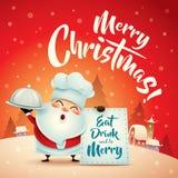 Χαρούμενα Χριστούγεννα! Άγιος Βασίλης στη σκηνή χιονιού Χριστουγέννων χαιρετισμός Χριστουγέννων καρτών Στοκ Φωτογραφίες