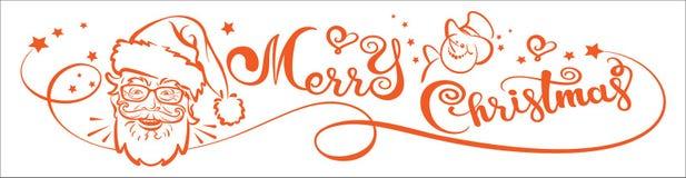 Χαρούμενα Χριστούγεννα, έμβλημα Κάρτα Χριστουγέννων, εγγραφή και Άγιος Βασίλης στοκ εικόνα