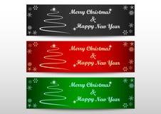 Χαρούμενα Χριστούγεννα 3 έμβλημα σχεδίου χαιρετισμών χρώματος στοιχείων διανυσματική απεικόνιση