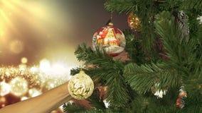 Χαρούμενα Χριστούγεννα ή τηλεοπτική κάρτα καλής χρονιάς Ένα χριστουγεννιάτικο δέντρο που διακοσμείται τεχνητό με τα παιχνίδια Ανα φιλμ μικρού μήκους