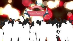 Χαρούμενα Χριστούγεννα γραφική με τους χορεύοντας ανθρώπους ελεύθερη απεικόνιση δικαιώματος