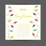Χαρούμενα Χριστούγεννα! Διάνυσμα που διευκρινίζεται greetingcard με την ηλεκτρική γιρλάντα λαμπτήρων απεικόνιση αποθεμάτων
