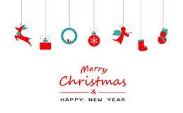 Χαρούμενα Χριστούγεννα, ελάχιστος, εκλεκτής ποιότητας, διακόσμηση, τάρανδος, δώρο, s ελεύθερη απεικόνιση δικαιώματος