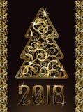 Χαρούμενα Χριστούγεννα & ευτυχές νέο χρυσό έτος του 2018 απεικόνιση αποθεμάτων