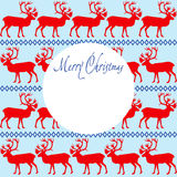 Χαρούμενα Χριστούγεννα ευχετήριων καρτών με τη διακόσμηση ταράνδων απεικόνιση αποθεμάτων