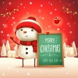 Χαρούμενα Χριστούγεννα! Εύθυμος χιονάνθρωπος με τον πίνακα μηνυμάτων στο χειμερινό τοπίο σκηνής χιονιού Χριστουγέννων απεικόνιση αποθεμάτων